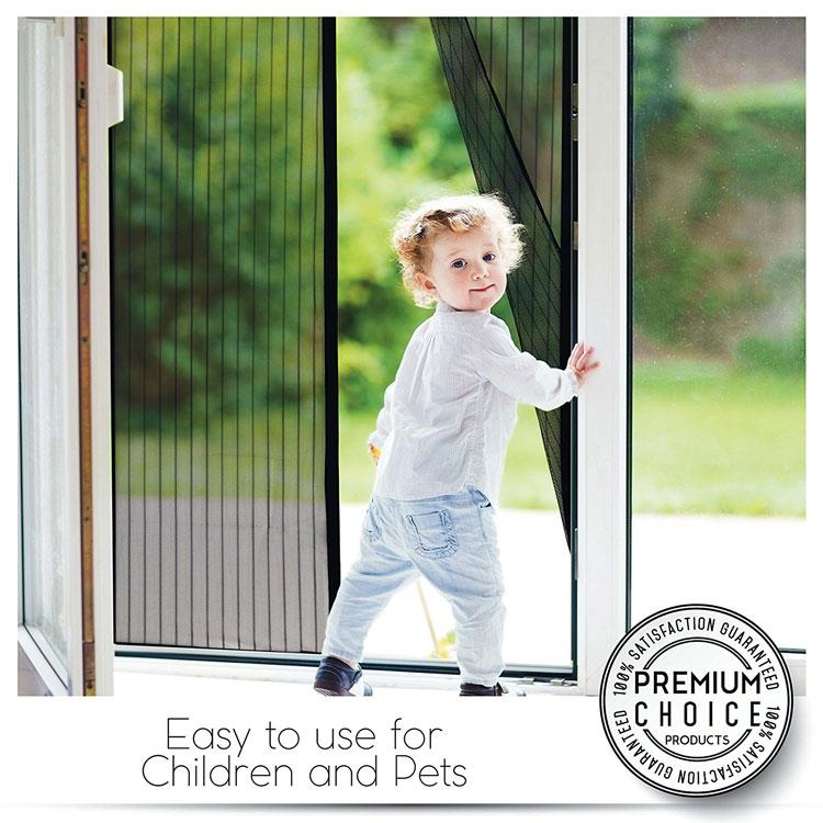 instant screen door with child