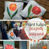 collage of tulip covered pillows