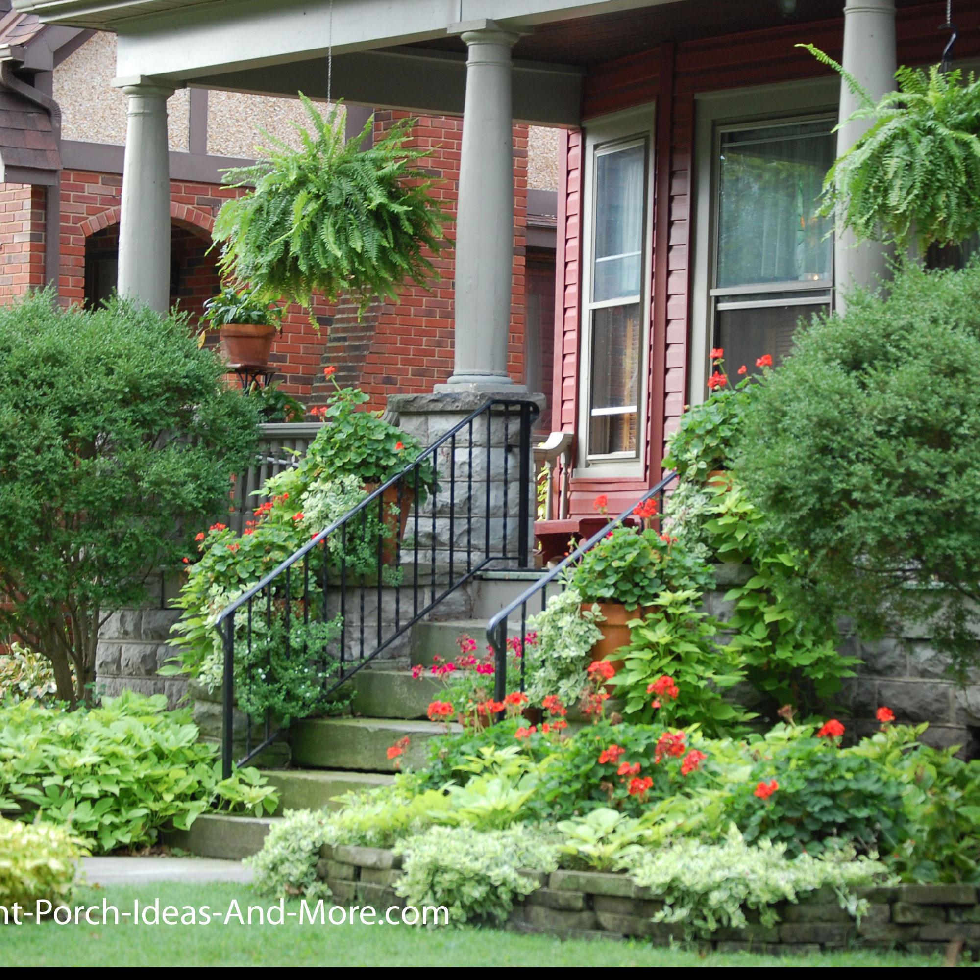 designed landscape for front yard and porch
