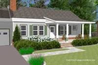 basic ranch with new conceptual front porch