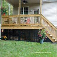 Porch skirting using black vinyl lattice panels