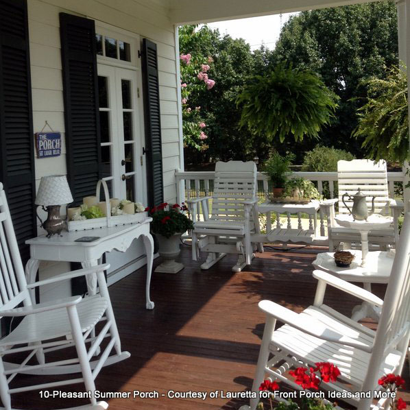 summer porch with rocking chairs