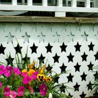 white porch skirting with stars
