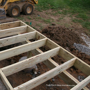 porch joists, beam, and footings