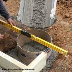 pouring concrete piers for front porch foundation