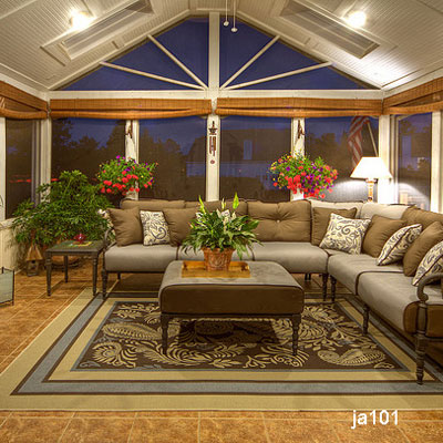 creative screen porch design with gable ceiling