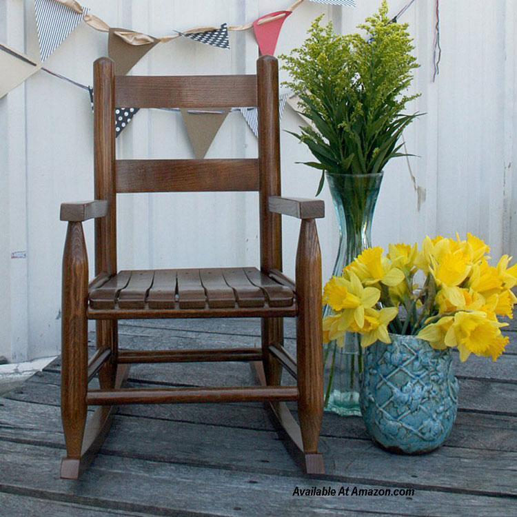 childrens rocking chair on front porch