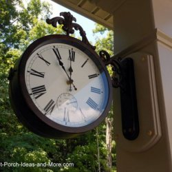 time and temperature clock installed on front porch column