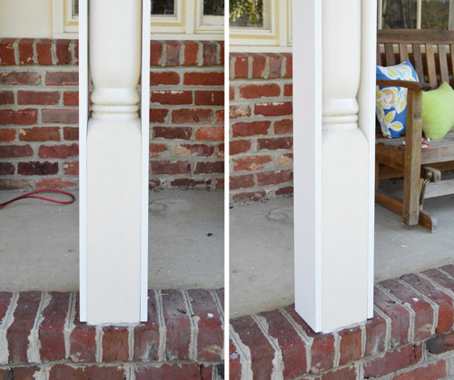 wrapping turned columns with rectangular columns