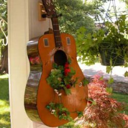 guitar on front porch for container gardening on the porch
