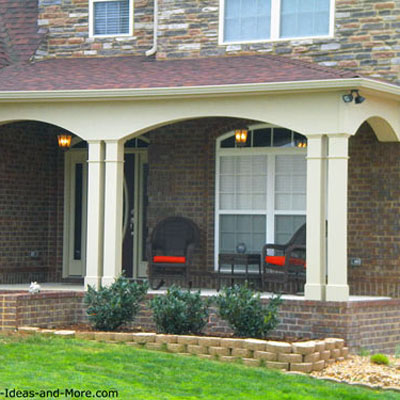 contemporary front porch with double columns