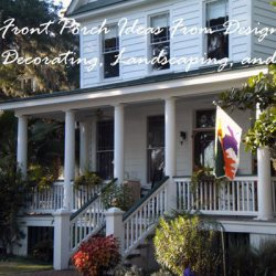 iconic American front porch in summer