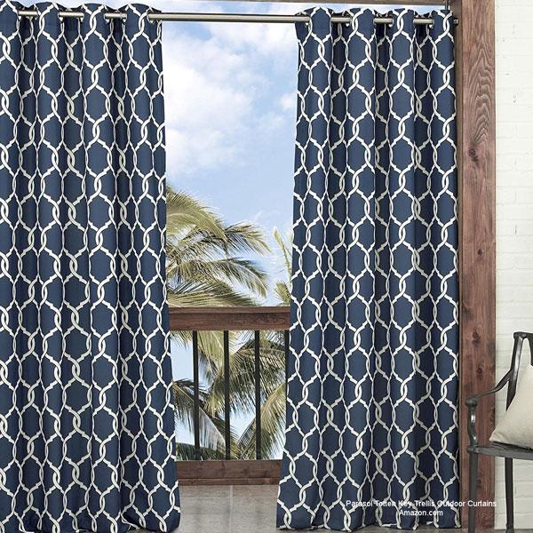 Parasol Totten Key Trellis porch curtains