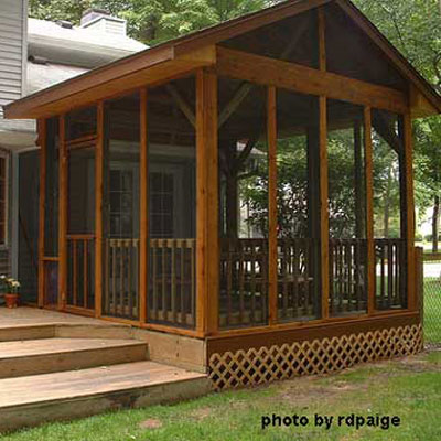 screen panels installed on diy screen porch build on back deck - Screen Porch Design Ideas