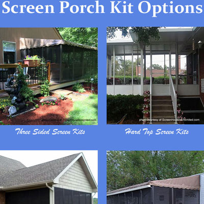 collage of screen porch kit options