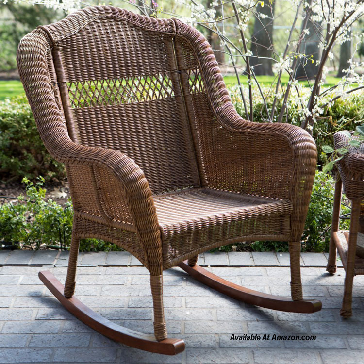 brown wicker porch rocking chair on front porch