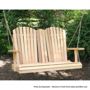Wood adirondack porch swing - simple and rustic