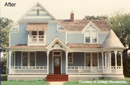 After: Home updated with Vintage Woodworks porch parts