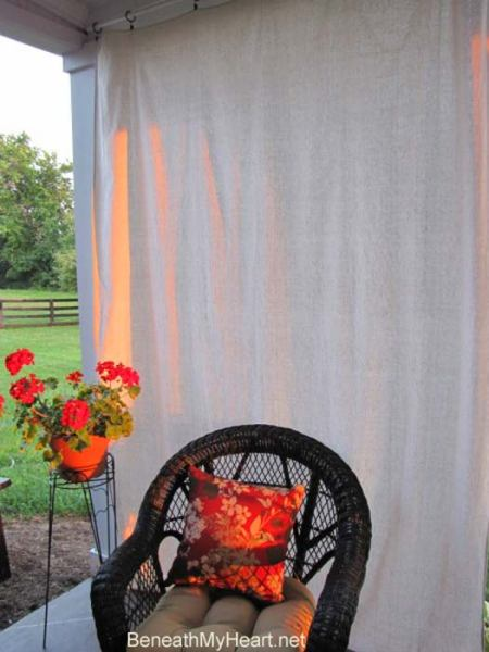 Curtain panels create shade for this corner of Traci's porch