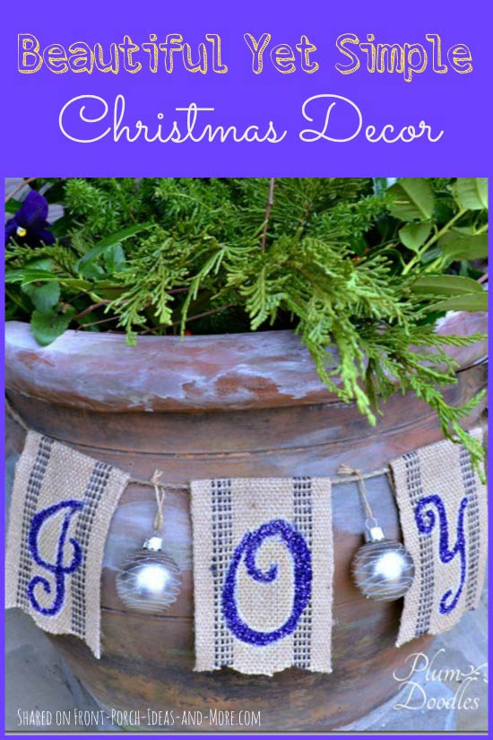 Simple Christmas decorating by Plum Doodles - closeup of joy banner made from jute, paint and glitter