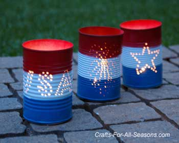4th of July Craft Idea- luminaries in red, white, and blue