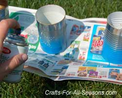 paint the luminaries with blue spray paint