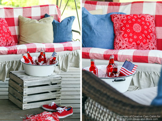 Dawn's patriotic porch all ready for the 4th of July