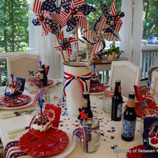 front porch decorated for the 4th of july