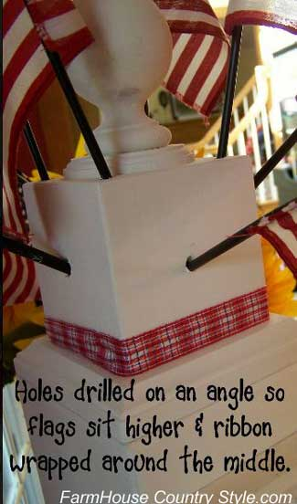 drill holes on the sides at an angle and attach patriotic plaid ribbon