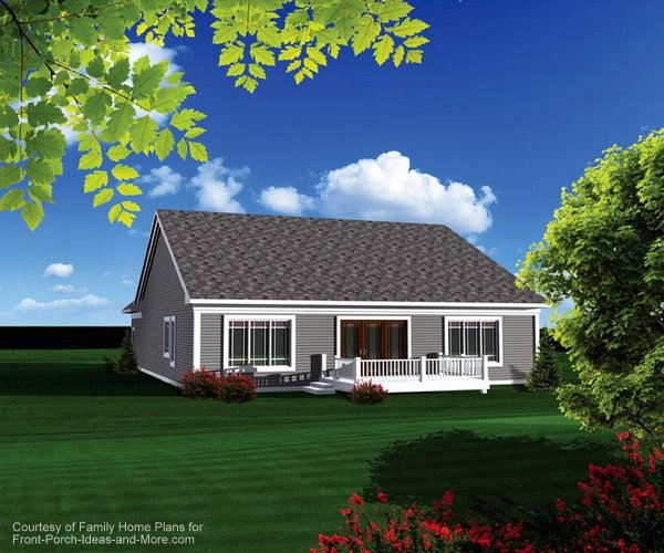 View of the back of this ranch home. Plan 73150