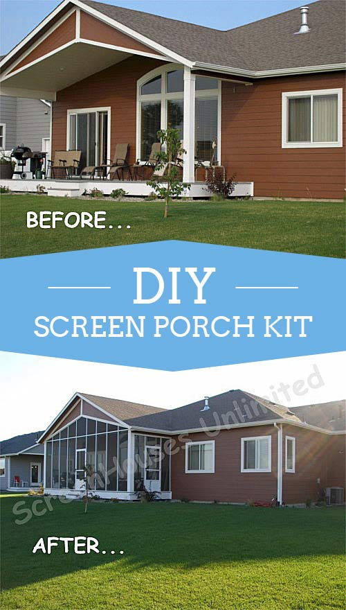A screen porch kit is a great way to make a porch enclosure covered back deck with screen wall kit from screenhousesunlimited added solutioingenieria
