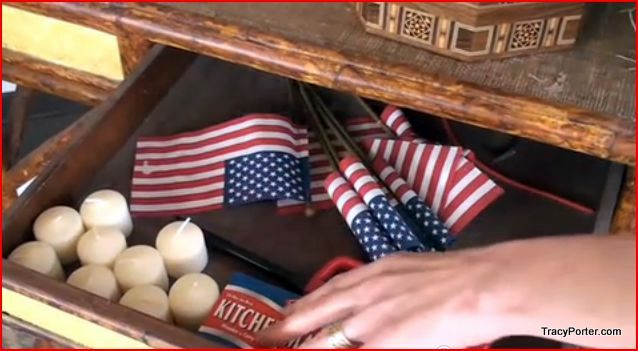 Inside the wooden porch desk