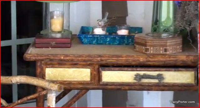 Wooden desk for porch
