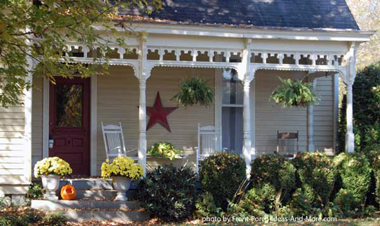 small front porch with exterior house trim