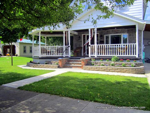 Lovely home and porch using hand crafted parts from Vintage Woodworks