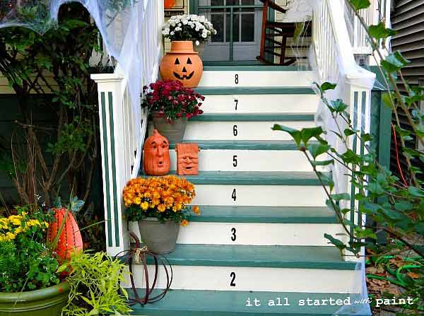 Numbered porch steps - decorated for autumn