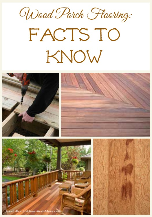 Collage of beautiful wooden floors on porches