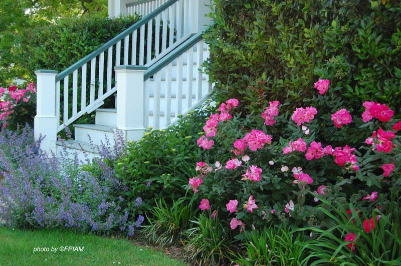 front porch landscaping and front porch staircase