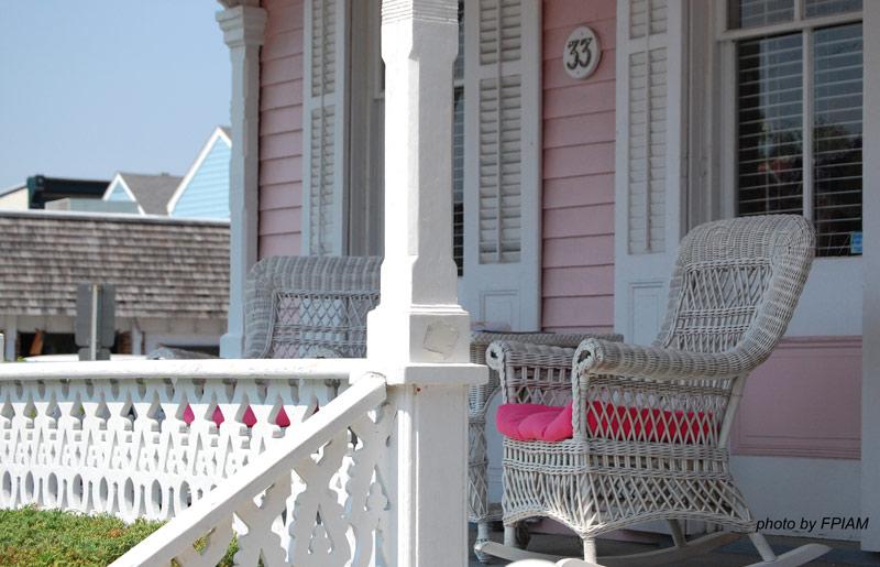 quaint pink porch in Cape May NJ