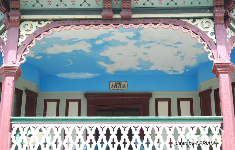 haint blue porch ceiling with cloud motif