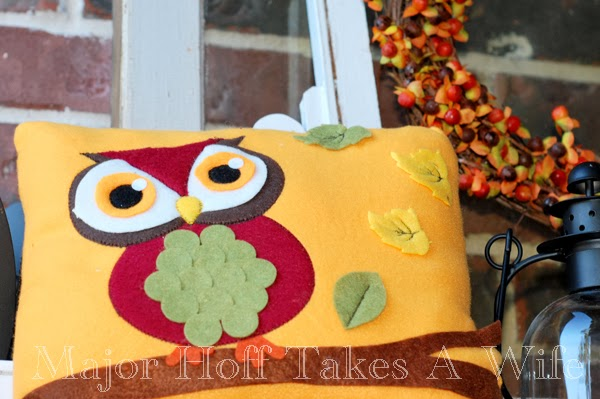 Major Hoff Takes a Wife - Cute Owl Pillow on Fall Porch
