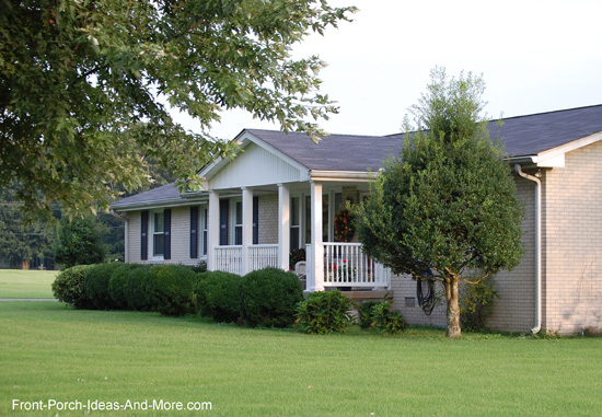 gable porch roof design on ranch style home