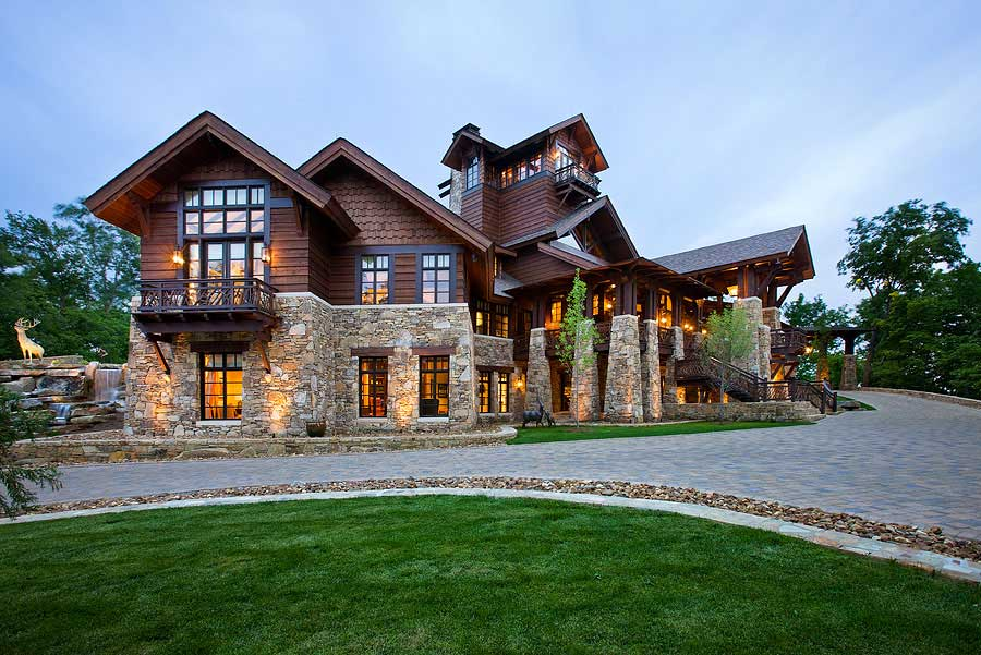 contemporary log home well lit  - photo courtesy of Roger Wade Studios