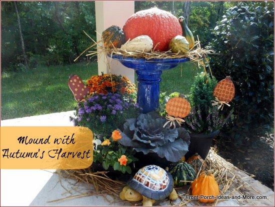 bird bath turned into autumn decoration