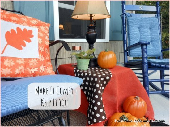 Colorful side table covered with burlap and brown polka dot fabric remnant