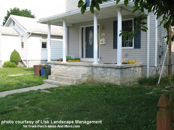 open front porch without landscaping
