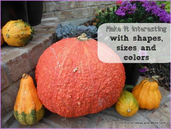 Place items of color and texture on your porch steps for autumn