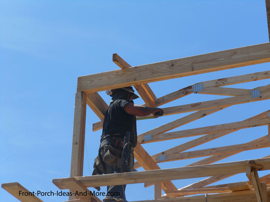 Building a porch roof porch roof framing for Roof trusses installation