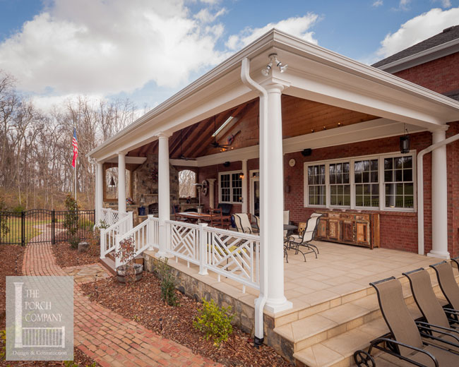 back porch addition with fireplace