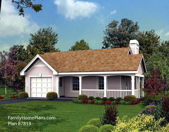 tiny house and porch plan from FamilyHomePlans.com #87813